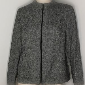 Melanie Lyne Tweed Zippered Jacket Size 10